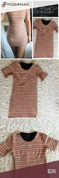 Topshop stretchy mini dress Very good used condition, no flaws. Cute with leggings too. Size 6 fits like size 4. 🚫 No Trades  🚫 No Holds 🚫 No Price Comments 👍🏻 Yes Offers 🚭 Smoke Free Home 📦 Next Day Shipping ❤️ Like for Updates 🕉 Namaste 🙏 Topshop Dresses Mini