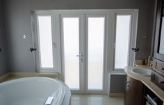 These REHAU uPVC french doors complete an elegant bathroom perfectly Upvc French Doors, Patio Doors, Sliding Doors, Windows, Bathroom, Elegant, Washroom, Classy, Sliding Door