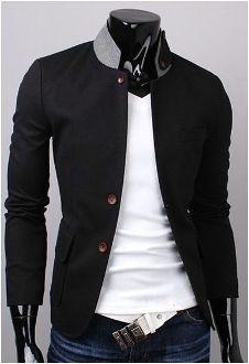 Men's Contrasting Collar Slim-Fit Casual Jacket