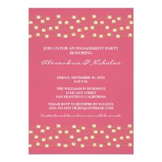 Rose Wedding Rehearsal String of Lights Engagement Party Invite (rose)