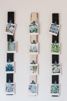 DIY photo display with wood slats & clips