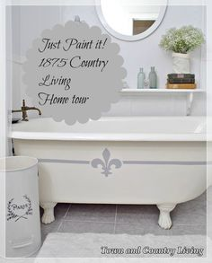 #French Claw Foot #painted tub.