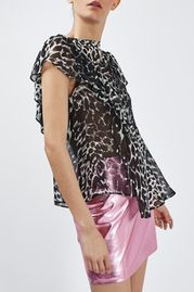 Leopard Ruffle Top By Boutique