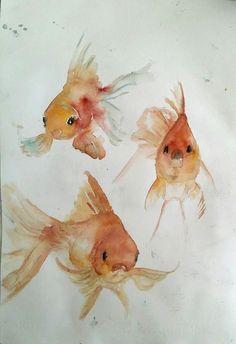 Japanese Watercolor, Watercolor Fish, Watercolor Pictures, Watercolor Animals, Watercolor Paintings, Koi Art, Fish Art, Tree Drawings Pencil, Animal Drawings