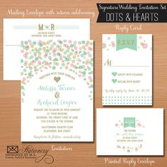 Whimsical Dots & Hearts Wedding Invitation Set by Designed By M.E. Stationery in mint, pink & gold