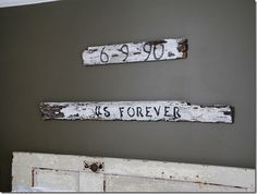 Sweet signs over the bed <3