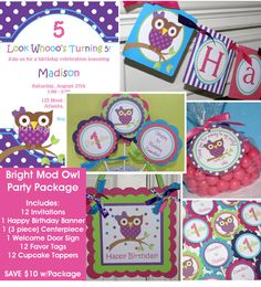 Bright Mod Owl Party Package Includes - Invitations, banner, cupcake toppers, favor tags, centerpiece & door sign