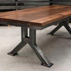 welding table plans or ideas Steel Table Legs, Steel Dining Table, Dining Table Legs, Wood Table, Steel Coffee Table, Welded Furniture, Iron Furniture, Steel Furniture, Table Furniture