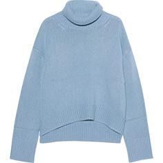 iHEART Greta Fog Blue Melange // Oversize turtleneck pullover found on Polyvore featuring tops, sweaters, blue, shirts, blue shirt, ribbed sweater, oversized shirt, oversized turtleneck sweater and oversized sweaters