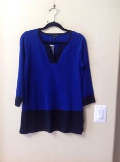 NWT CABLE & GAUGE WOMEN'S MULTI-COLOR RAYON/POLY 3/4 SLEEVE SWEATER SIZE S #CableGauge #SPLITNECK