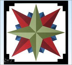 Green Mariner's Compass Barn Quilt