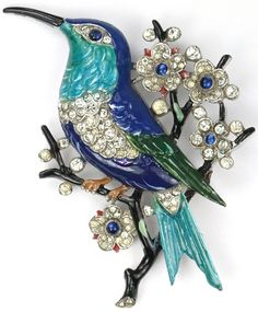 Trifari 'Alfred Philippe' Pave and Enamel Hummingbird with Flowers on a Branch Pin, 1940