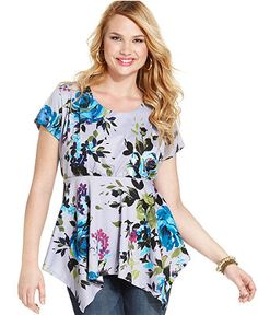 Belle Du Jour Plus Size Top, Short-Sleeve Printed Handkerchief Hem - Plus Size Tops - Plus Sizes - Macy's