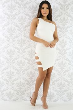 One Shoulder Cutout Bodycon Dress