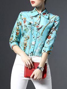 Light Blue Floral V neck sleeve Work Floral-print Silk Blouse