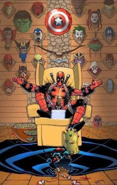 Deadpool kills Marvel characters right along with the comic universe. No Batman, Superman or JLA: Why does everyone like Deadpool? He's a fucking jerk Anime Comics, Bd Comics, Archie Comics, Marvel Dc Comics, Marvel Heroes, Marvel Avengers, Deadpool Comics, Deadpool Wolverine, Joker Batman