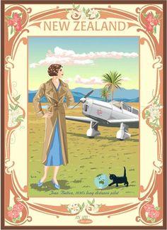 Check out the deal on Jean Batten Portrait at New Zealand Fine Prints Art Deco Posters, Cool Posters, Vintage Travel Posters, Vintage Postcards, Art Nouveau, Nz History, Poster Store, Nz Art, Retro Poster