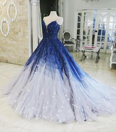 Buy Ombre Ball Gown Royal Blue Prom Dresses With Appliques, Long V Neck Quinceanera Dresses online.Shop short long ombre prom, homecoming, bridesmaid evening dresses at Couture Candy Cocktail party dresses, formal ball gowns in ombre colors. Royal Blue Prom Dresses, Cute Prom Dresses, Quince Dresses, Pretty Dresses, Bride Dresses, Elegant Dresses, Dresses Dresses, Formal Dresses, Casual Dresses