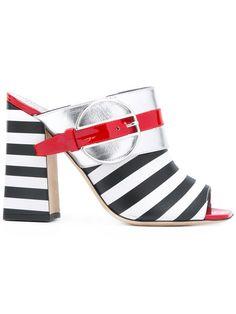 Shop Pollini Deco Colour-Block & Stripes mules.