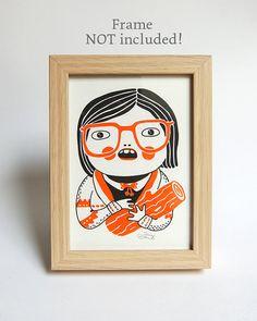 LOG LADY  Riso Print without frame Twin Peaks 13x18 by danadamki, €8.50