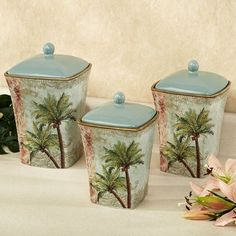 Key West Palm Tree Kitchen Canister Set