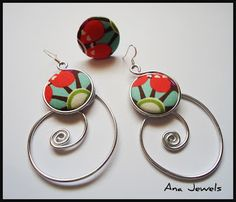 ana jewels: PENDIENTES DE ALAMBRE Y BOTONES FORRADOS