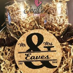 Mr. & Mrs. Wine glasses and set of 4 cork coasters