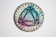 hand embroidered gem patch. trillion triangle diamond flourite