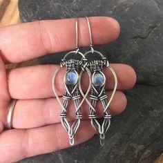 ON SALE Moonstone Earrings Sterling Silver Earrings Wire