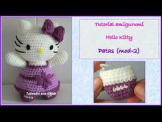 Tutorial amigurumi Hello Kitty - Patas (mod-2) (English subtitles) - YouTube