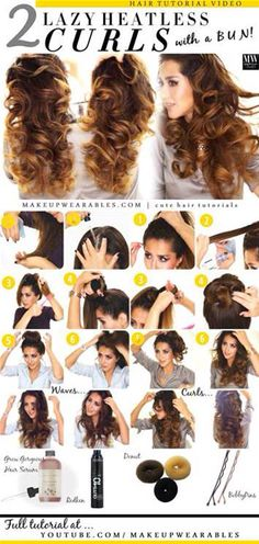 Hair Styles Ideas : Illustration Description How to curl your hair overnight – easy heatless curls waves hairstyles -Read More – - Curled Hairstyles, Diy Hairstyles, Pretty Hairstyles, Overnight Hairstyles, Heatless Hairstyles, Wedding Hairstyles, Everyday Hairstyles, No Heat Hairstyles, Updo Hairstyle