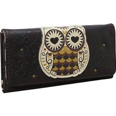 Amazon.com: Owl with Heart Eyes Leatherette Tri-Fold Embossed Wallet: Clothing
