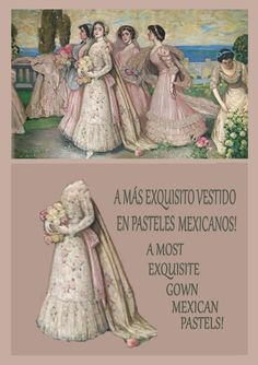 """[DETAIL OF A STUNNING  BRIDAL GOWN IN MEXICAN PASTELS] ~ """"La Primavera, Spring"""" ~ Alfredo Ramos Martinez is one of the most important Mexican artists of the twentieth century. Ramos Martínez is sometimes referred to as the """"Father of Modern Art"""" in Mexico. """"La Primavera, Spring"""" is considered to be one of his most important pieces."""