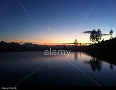 #Mountain #Lake #Sunset #Reflection With #Moon @Alamy #Alamy @AlamyContent @carinzia #ktr14 #nature #landscape #stock #photo #portfolio #download