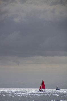 Sunset Sail, Red on Gray by hjl