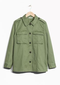 & Other Stories image 1 of Cotton-Twill Structured Shirt   in Green