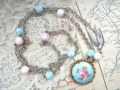 SOLD spring necklace assemblage enamel rose by lilyofthevally