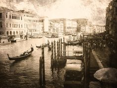 View from the Rialto - Grand Canal - Venice, Italy - Sepia - Fine art Photography, Textured