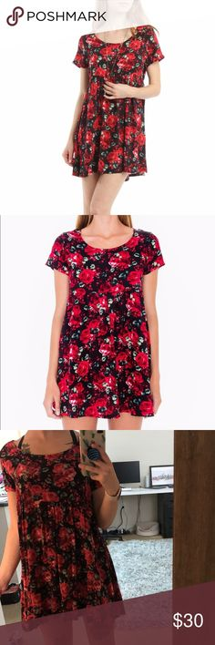 American Apparel Babydoll Dress Red Roses Size XS/S I wish I had a pair of Doc Martin's to pair this with. My loss is your gain on this one, because American Apparel won't bring it back with their new lines! American Apparel Dresses