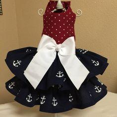 Anchors Away Nautical Dog Dress Customizable by Rufflesforcharli