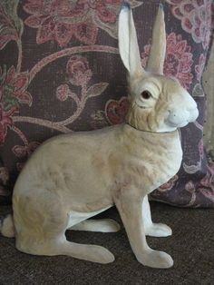 Vintage Early 1900 Large German Rabbit Bunny Candy Container Fabulous RARE