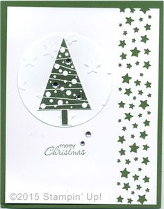 Stampin' Up! Christmas Cards - Festival of Trees and Petite Pairs stamp sets, Lucky Stars Embossing Folder, Circle, Tree & Confetti Stars Border Punches