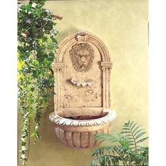 Mount this classically styled fountain on any wall to recreate the elegant ambience of a Greco-Roman sanctuary. The look of carved stone without the weight and expense! Holds five gallons of water; pu