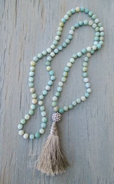 Long knotted tassel necklace ' Duster in Khaki ' by slashKnots