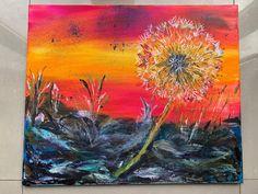 Dandelion Seedhead in the Rough - Original Acrylic Painting - one off Richard Rawlings, Mount Laurel, Watercolor Sunset, Yellow Eyes, Stonehenge, Frame Shop, Paintings For Sale, Beautiful Paintings, Dandelion