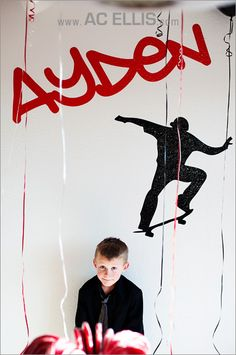 Skateboard Boys red and black birthday party - vinyl wall decal