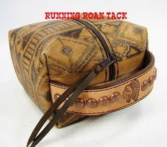 """Sedona Aztec"" Cosmetic Bag with Stamped Rough Out Leather Handle by Running Roan Tack"