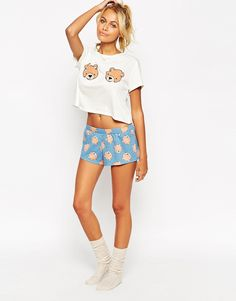 ASOS Teddy Bear Boobs Tee & Short Pyjama Set