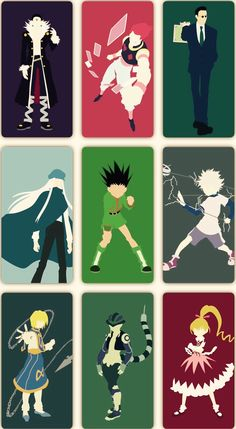 Chrollo, Hisoka, Leorio, Kite, Gon, Killua, Kurapika, Meruem, and Bisky ~Hunter X Hunter. These drawings show them all so well.