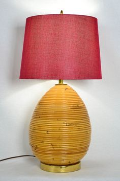 Vintage Bamboo Beehive Table Lamp by OffCenterModern on Etsy